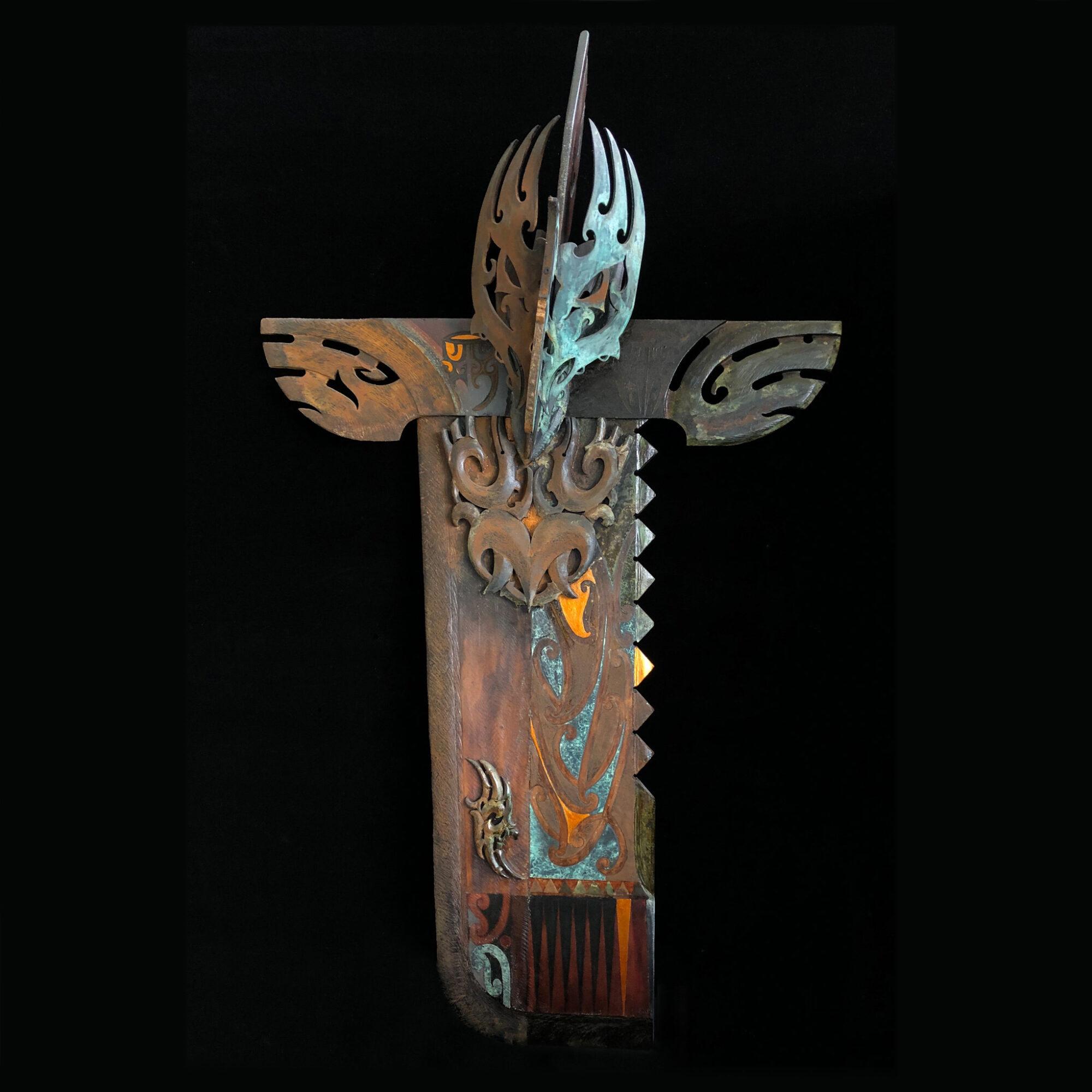 Manu Kaitiaki Series I The Gaurdian of the house. Native timber, multi medium.