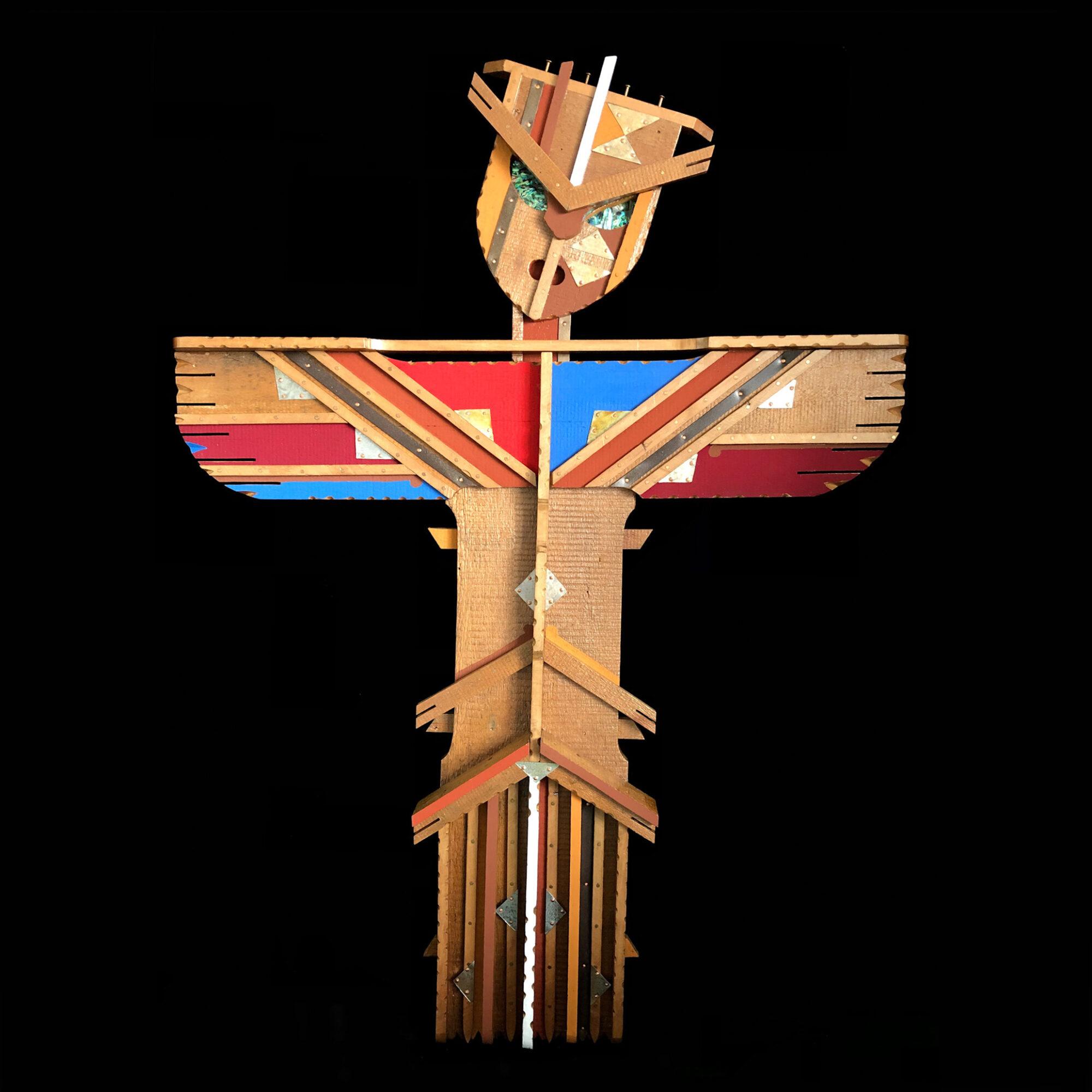 Manu Kaitiaki Series III Gaurdian of the people Native timber, acrylic paint, paua inlay, copper nails, steel plating